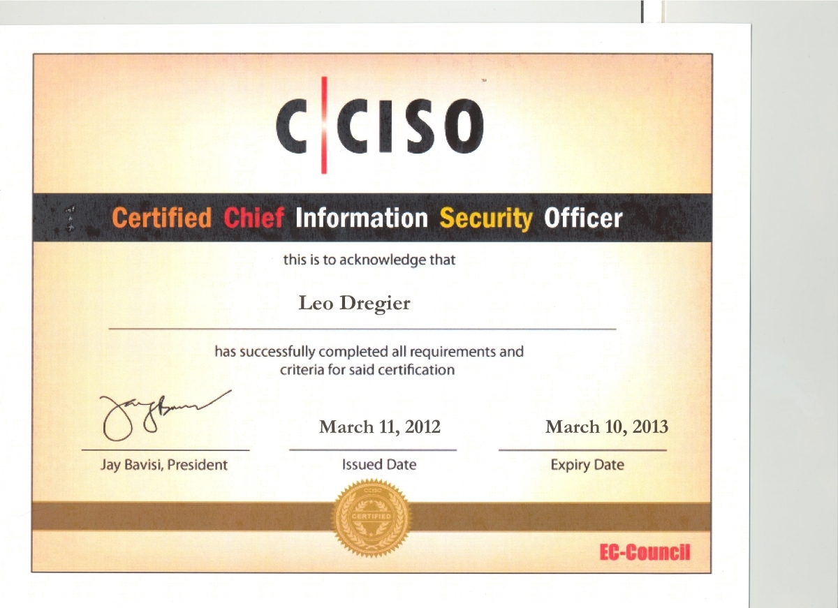 Certifications official site of leo a dregier iii cciso 1 of 5 1betcityfo Gallery
