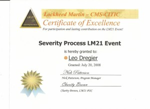 Certificate of Excelence LM21 Severity Processes Event