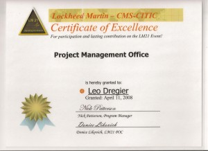 Certificate of Excellence PMO