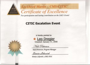 Certificate of Excellence  CITIC Escelation Event